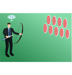 Businessman confuse look at multiple target vector