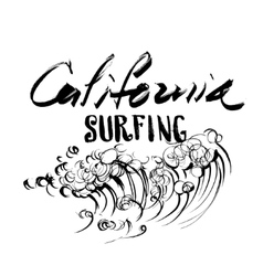 California Surfing Lettering brush ink sketch vector