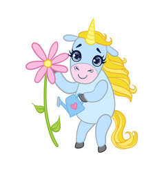 Cartoon light blue unicorn with flower colorful vector