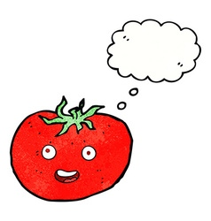 cartoon tomato with thought bubble vector image