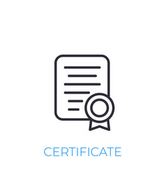 certificate icon line style vector image
