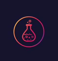 Chemistry reaction in test tube icon vector