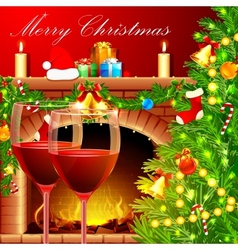 Christmas Decoration with Wine Glass vector image