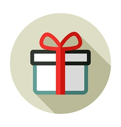 Christmas gift with red ribbon and bow vector