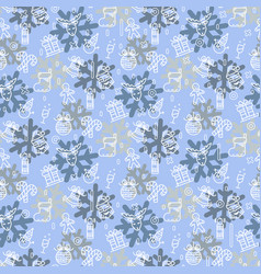 christmas or new year pattern with snowman vector image