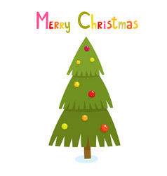 christmas tree in cartoon style isolated on white vector image