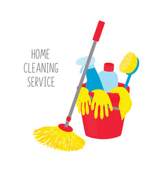 Cleaning service house cleaning tools in bucket vector