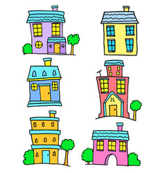 colorful house set art vector image