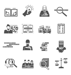 Compliance copyright law black icons set vector