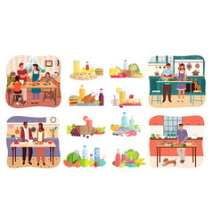 Couple and family cooking food set dishes vector