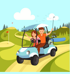 Couple young man and woman driving golf cart vector
