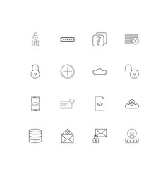 cyber security linear thin icons set outlined vector image