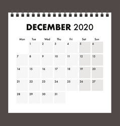 December 2020 calendar with wire band vector