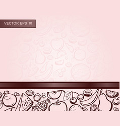 design template with hand drawn fruits for print vector image
