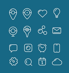 Different simple web pictograms collection Lineart vector image