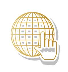 earth globe with cursor golden gradient vector image
