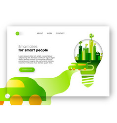 Eco friendly city web landing page template vector