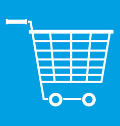 Empty supermarket cart with plastic handles icon vector