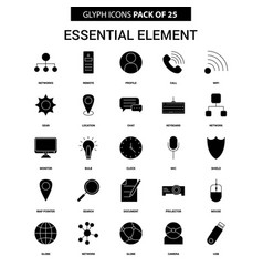 essential element glyph icon set vector image