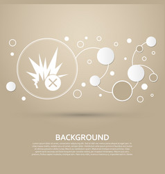 Explosion icon on a brown background with elegant vector