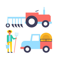 Farmer and machinery icons set vector
