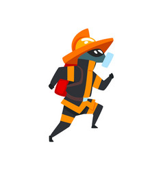 fireman in a protective mask running firefighter vector image