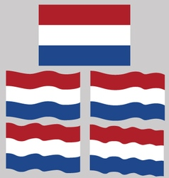 Flat and Waving Flag of Netherlands vector image