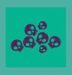flat shading style icon halloween skulls vector image