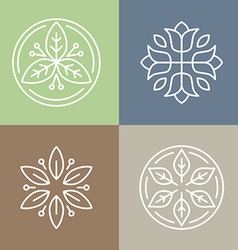 floral icons and logos vector image