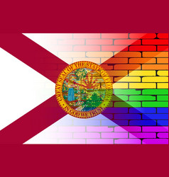 Gay rainbow wall florida flag vector