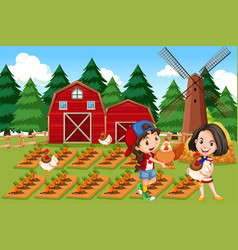 girl at the farm vector image
