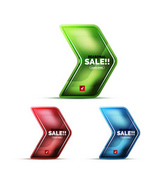 glossy glass geometric arrow price sale web label vector image