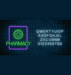 glowing neon pharmacy signboard with alphabet vector image