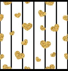 Gold heart seamless pattern black-white geometric vector