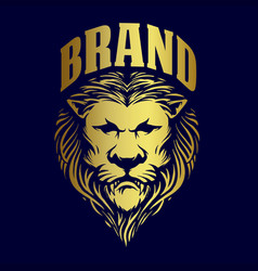 gold lion king logo for brand business vector image