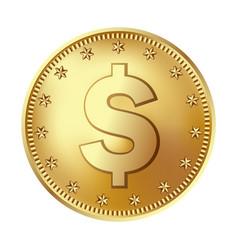 golden dollar coin money vector image