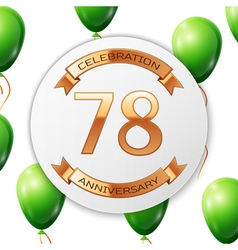 Golden number seventy eight years anniversary vector image