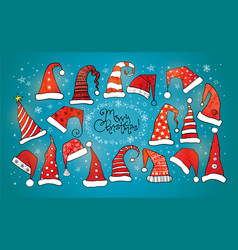 greeting christmas card with collection of red vector image