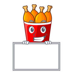 Grinning with board character bucket chicken fried vector
