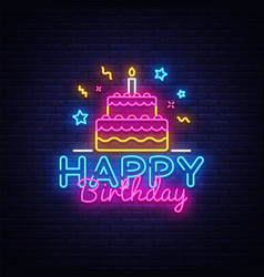 happy birthday neon text happy birthday vector image