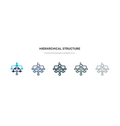 Hierarchical structure icon in different style vector