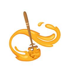 honey dipper set wooden spoon for liquid vector image