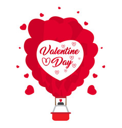 Hot air heart balloon vector