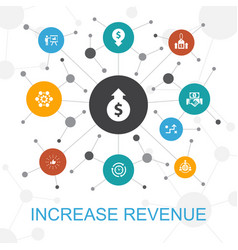 Increase revenue trendy web concept with icons vector