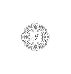j letter logo monogram design elements line art vector image
