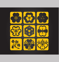 Japanese culture symbolic ornaments set vector