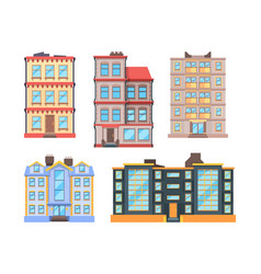 living buildings flat style urban houses with 3 vector image