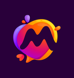 M letter at colorful speech bubble and heart vector