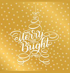 Merry and bright lettering framed in star tree toy vector