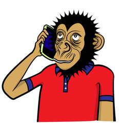 monkey and smart phone vector image